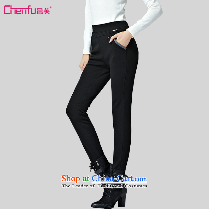 Morning to 2015 autumn and winter large female Korean Sau San trousers Sleek and versatile elastic waist trousers with warm pencil lint-free video skinny legs forming the trousers press BLACK�L_ recommendations 180-200 catties_
