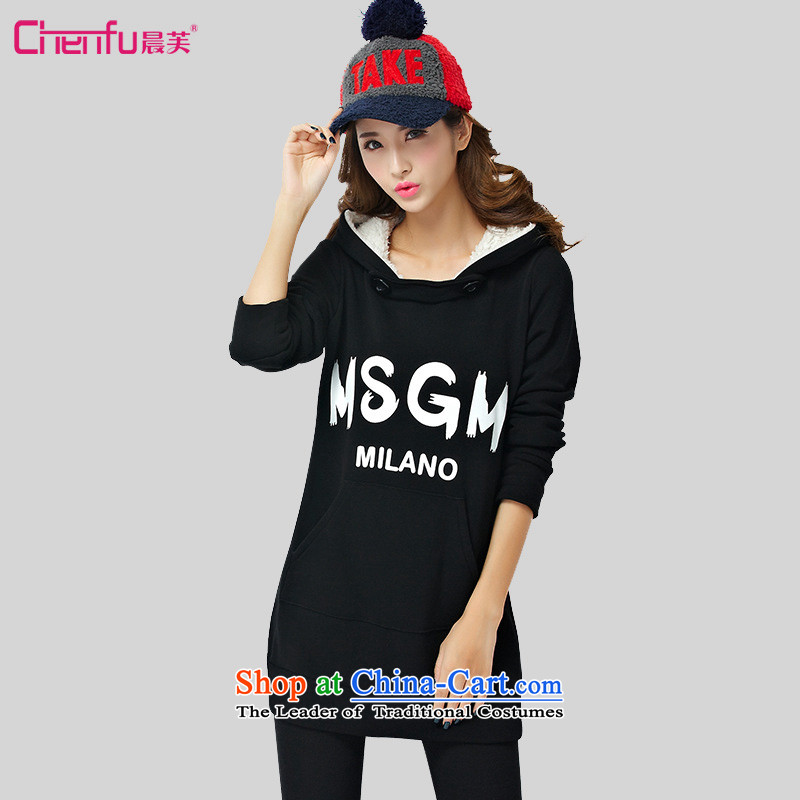 Morning to 2015 autumn and winter new Korean version of large numbers of women with the lint-free cloth cap sweater pants and two campaign kit and trendy letter stamp thick black kit-plus�L_ recommendations 180-200 catties_