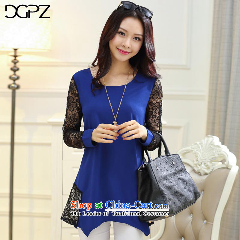 Large DGPZ women chiffon lace forming the Netherlands 2015 autumn and winter new graphics thin coat VG012 BLUE燣