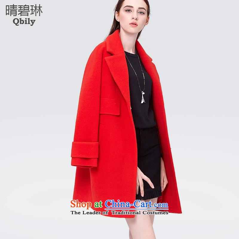 Sunny Pik Lam 2015 gross coats womens? reverse collar-long-sleeved loose cocoon-shoulder? In gross jacket long red燤