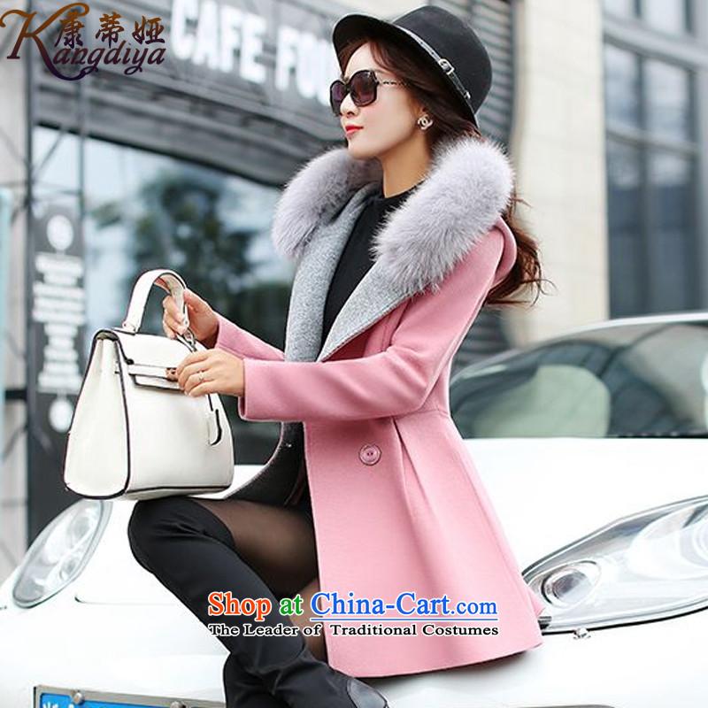 Contee Tarja Halonen of autumn and winter 2015 New Women Korean Fox gross aristocratic small incense for the wind in Sau San long a wool coat jacket 358_ leather toner?L