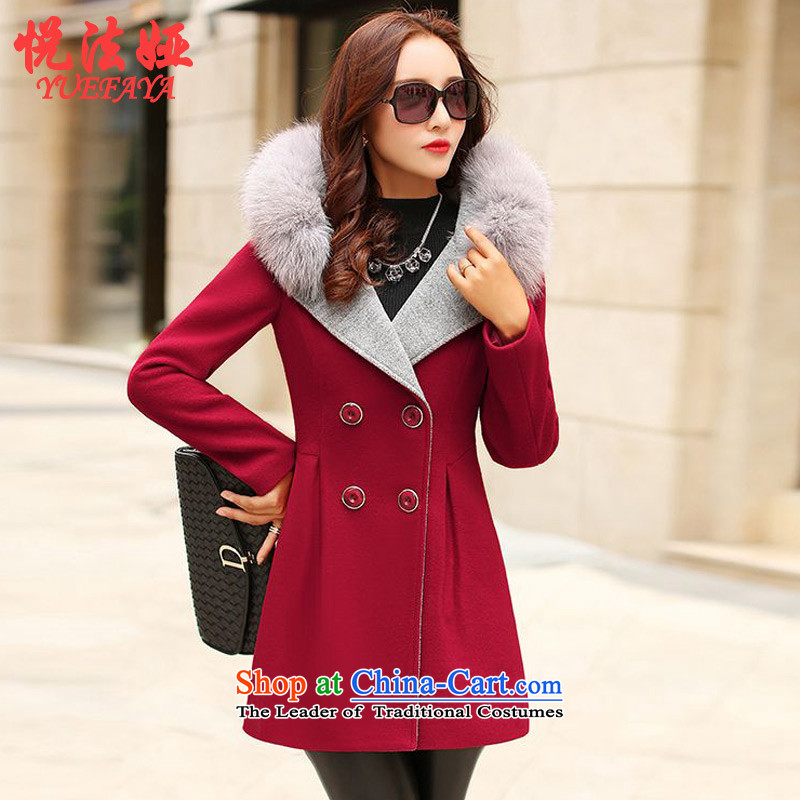 The law of the Hyatt Regency Tarja Halonen of autumn and winter 2015 new Korean version in the medium to long term, Sau San a wool coat collar lapel gross flows of female jacket coat? red L