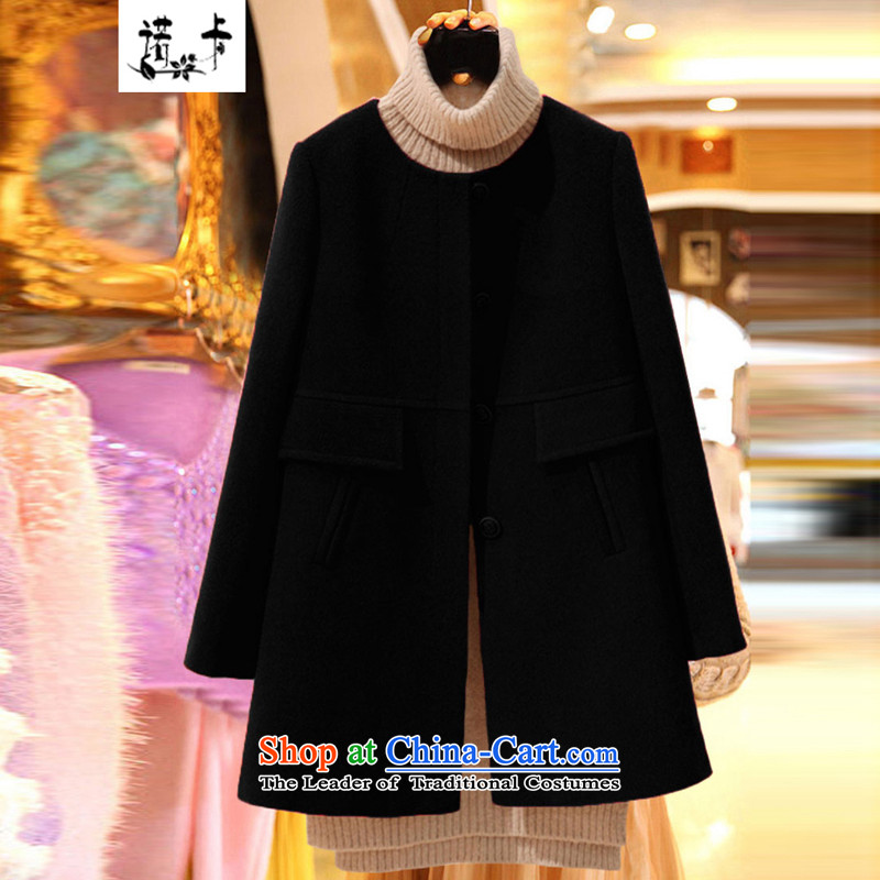 Nocca larger gross coats women 2015 will fall and winter new Korean high-end thick mm round-neck collar long-sleeved sweater in long hair black聽3XL thick coat?