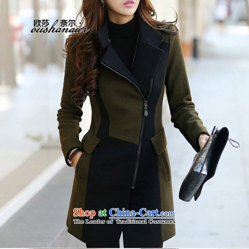 2015 Autumn winter thick female personality temperament fashion, Ms. long hair? coats long-sleeved jacket warm wind Army Green燤