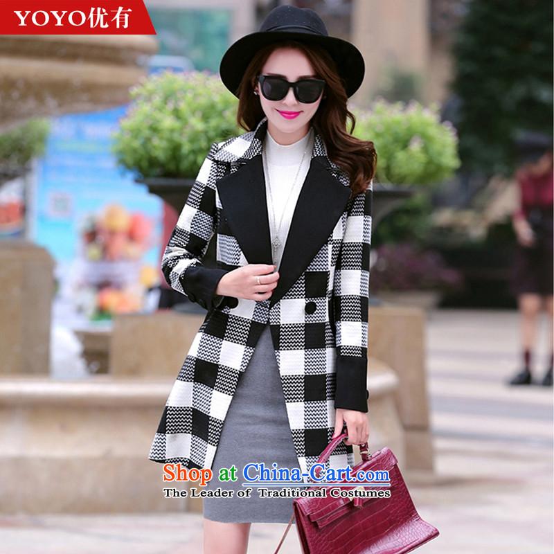 The YOYO optimization with 2015 Winter new handsome stylish thin Korean Sau San video temperament V1700 gross? jacket black and white checkered燤