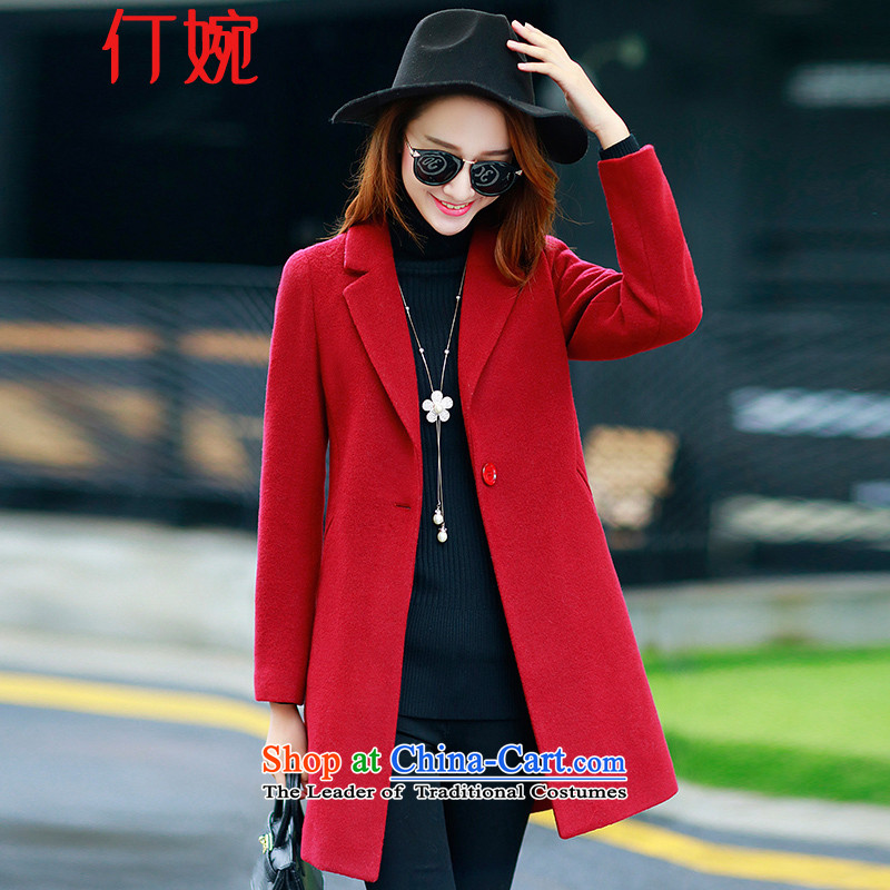 The suspension of the autumn and winter 2015 Yuen new Korean version in Sau San long minimalist jacket coat of gross?? 15669 Female Red?L