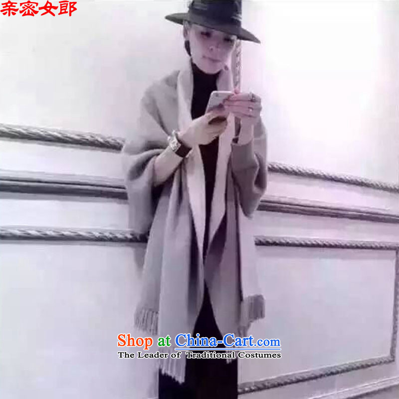Close the new flow of girl-sided flannel coats bat sleeves shawl loose jacket coat female A0128 gross is light gray L