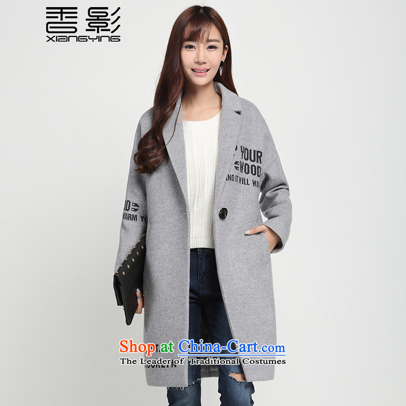 A Grain Gross deduction jacket female incense? 2015 shadow of winter clothing new text stamp a wool coat in long Sau San Gray聽L
