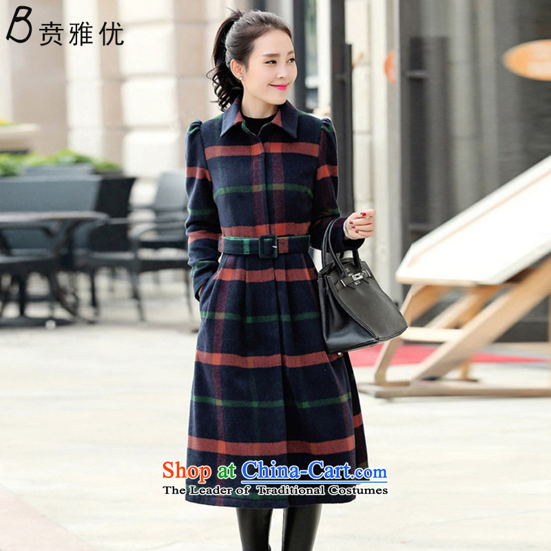 Ben Nga optimization of autumn and winter 2015 new coats, wool? long coats C1155 tartan navy blue,燤