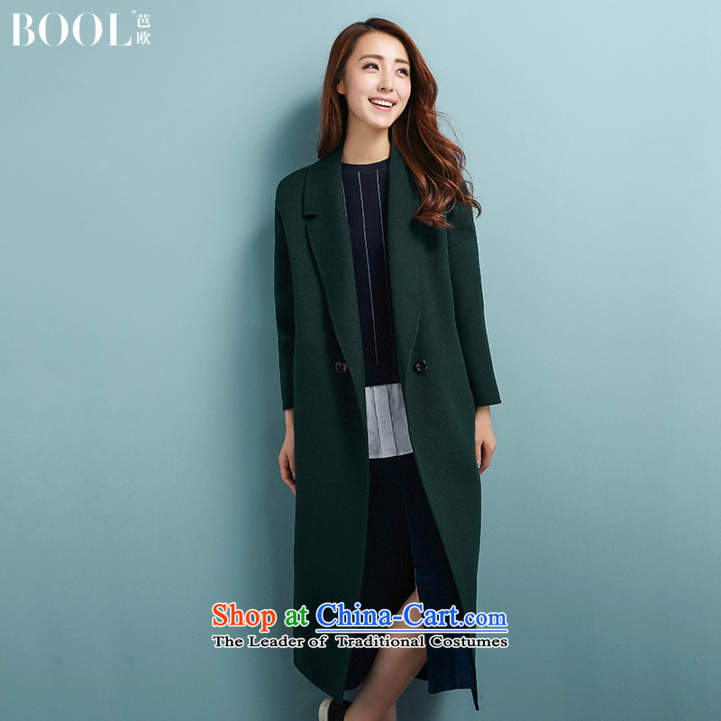 Barbara Euro 2015 Winter Ms. New hand-long hair? jacket Korean sided flannel woolen coat emerald- M