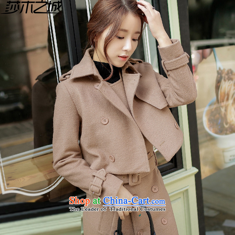 Elizabeth City   2015 autumn and winter new gross girls jacket? Long Korean Gross Sau San? Coat two kits leisure suite S8186 gross? khaki M 100-110 catty
