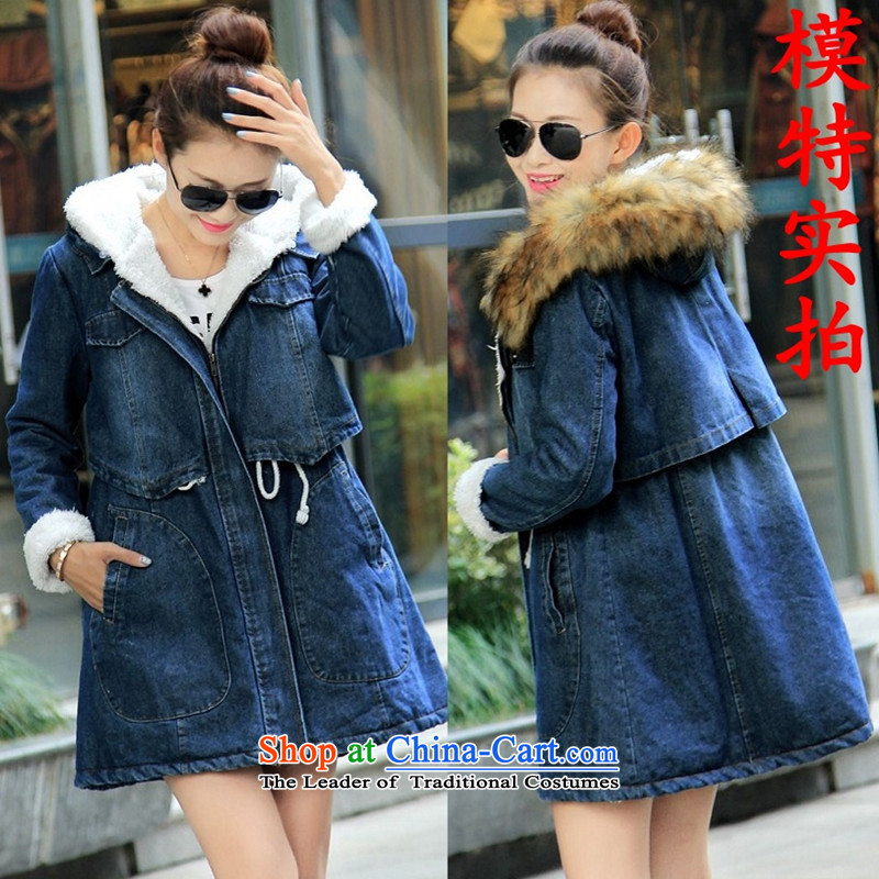 2015 winter clothing new Korean version of large numbers of ladies thick MM loose, Hin thin, thick cotton thick sister in students long plus lint-free thick preppy cowboy jacket map color燲XL