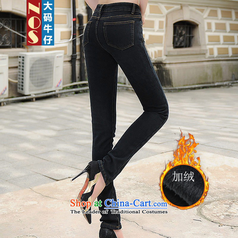 Nos 2015 winter thick mm to intensify the lint-free warm Top Loin of thick jeans pants castor larger female Y66181 black 40