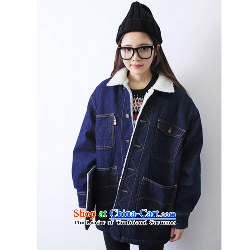 2015 winter clothing new Korean version of large numbers of ladies thick MM loose, Hin thin, thick cotton clothing thick cotton coat in Korea long plus winter lint-free students cowboy jacket map color M