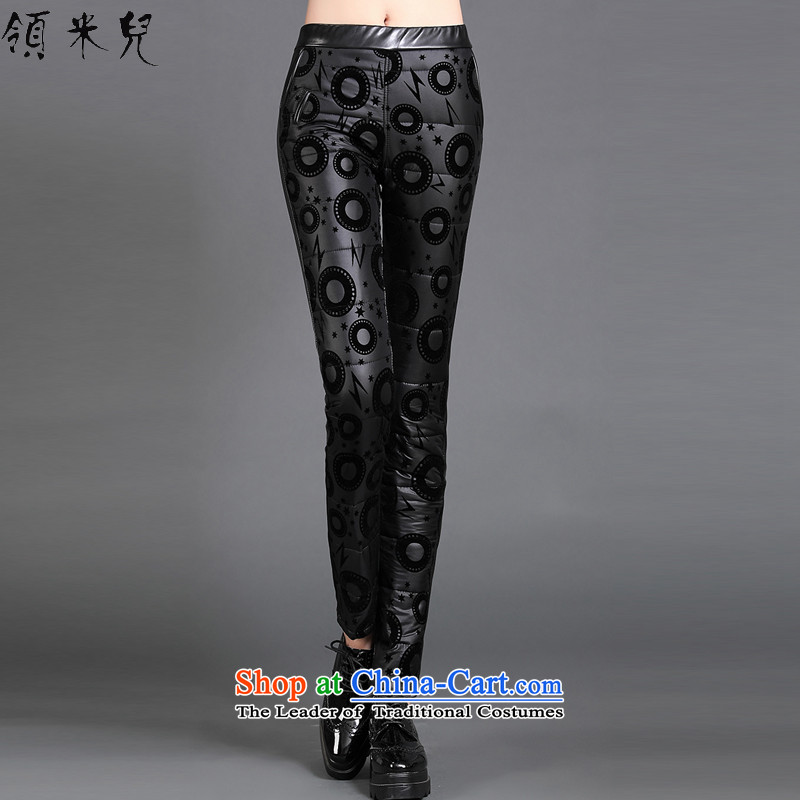 For M-聽Large 2015 Fall_Winter Collections for women to new xl quality duvet bedding Bonfrere looked as casual stylish stamp PU leather pants Sau San W7013 female black聽3XL
