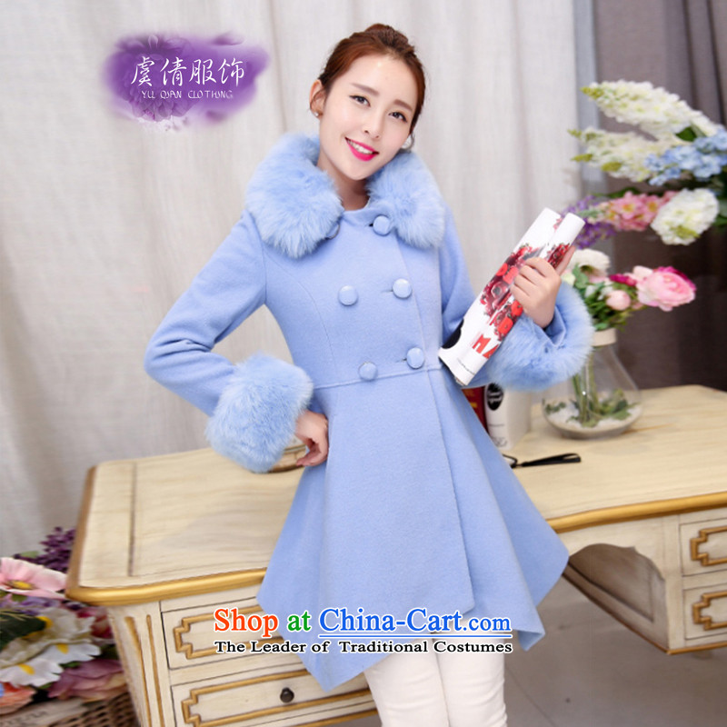 Yu Chien YQ 2015 winter clothing new Korean women in long with a gross? coats Y305 aqua-blue聽M