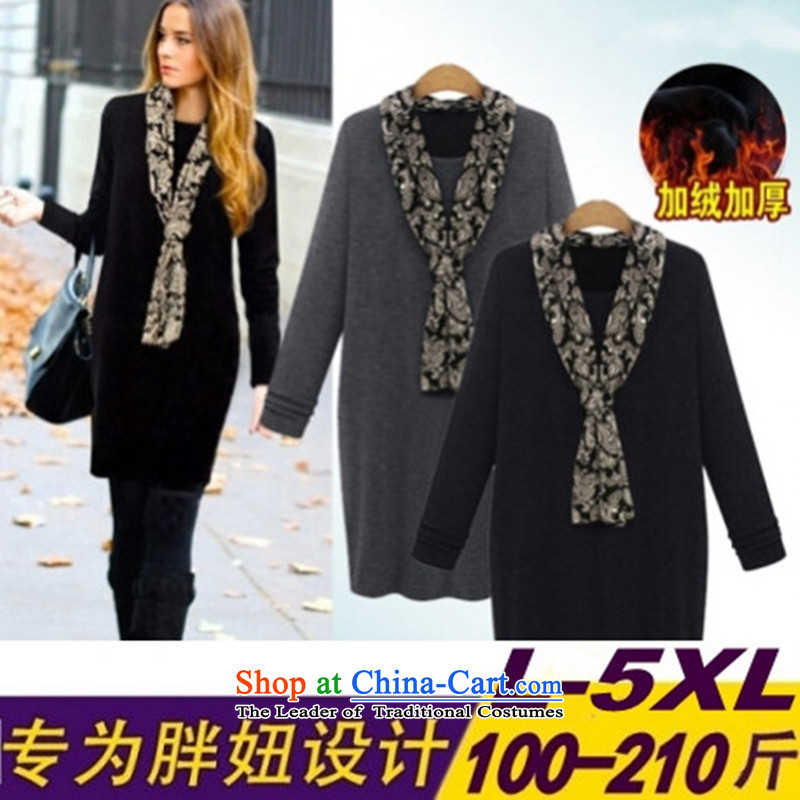 2015 winter clothing new Korean version of large numbers of ladies thick MM loose, Hin thin, thick 200 catties thick sister thick plus long-sleeved forming the winter, lint-free suits燲XXXL black skirt
