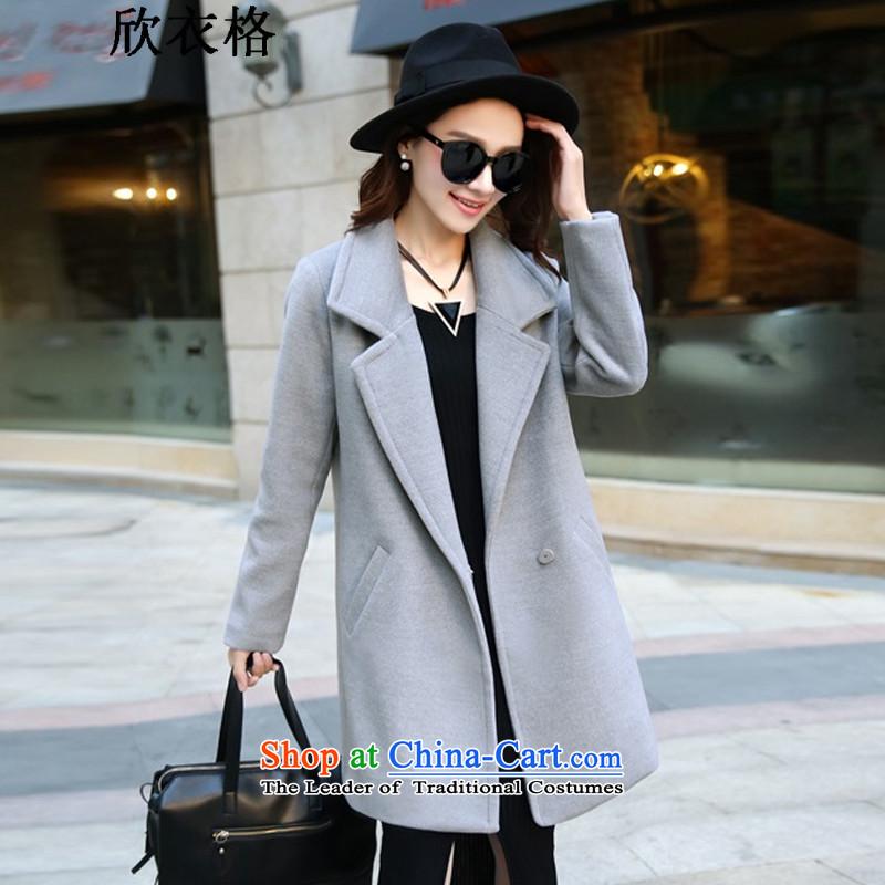 Yan Yi, gross? For Winter 2015 female Coat new women in Korean long hair Sau San? 9852 jacket gray燲L
