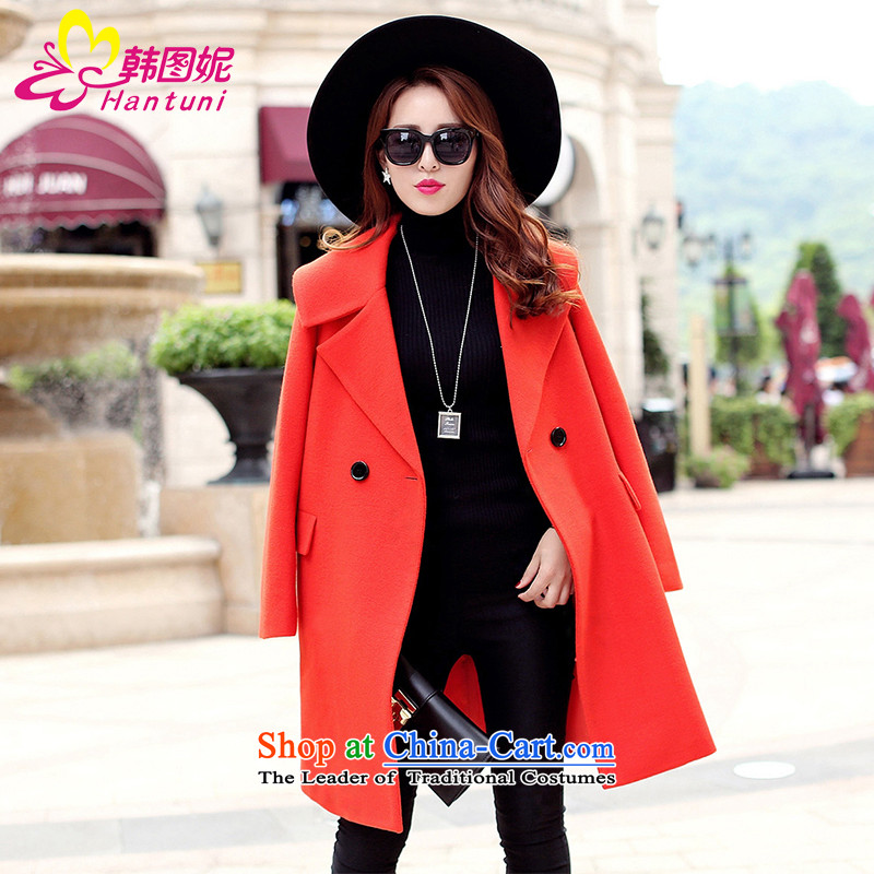 Korean figure for autumn and winter 2015, Connie on new Western liberal large a wool coat female Heung-wind jacket girl in gross? Long Korean thick wool red orange coat? M