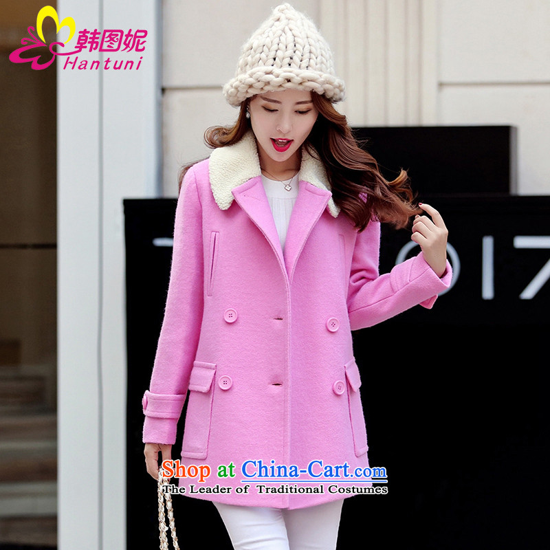 Korean figure Connie of autumn and winter 2015 new lambs for small wind-Gross Gross girls jacket? long large coats Korean Sau San? Preppy pink a wool coat of red M