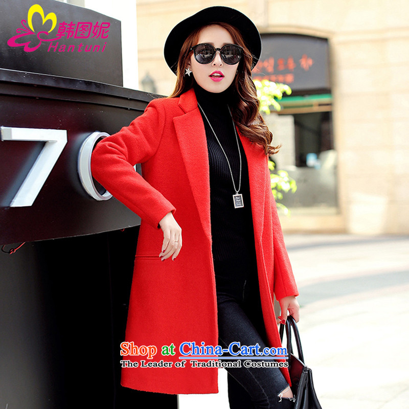 Korean figure Connie of autumn and winter 2015 on new small-wind jacket girl in gross? Long Korean large Sau San female wool a wool coat Europe so Coat Female Red orange燤