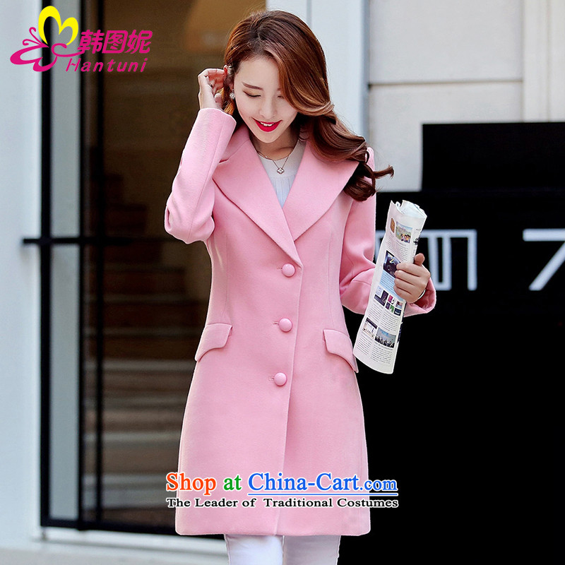 Korean figure Connie of autumn and winter 2015 on new red cloak large western-style suit for Korea? Edition small incense wind jacket girl in gross? long wool Sau San a wool coat pinkM