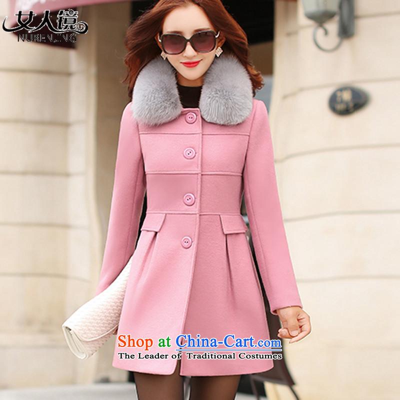 2015 winter clothing new gross girls jacket? Long a wool coat N5048 pink燤
