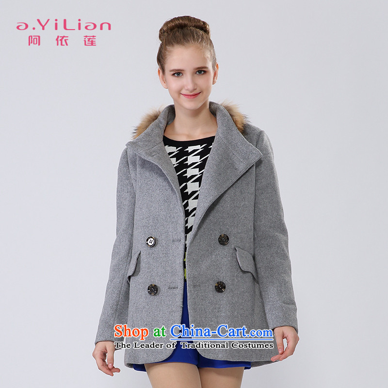 Aida 2015 Winter New Lin auricle retro-spell Nuclear Sub gross in double-long wool coat jacket CA44297350? Light Gray聽XL