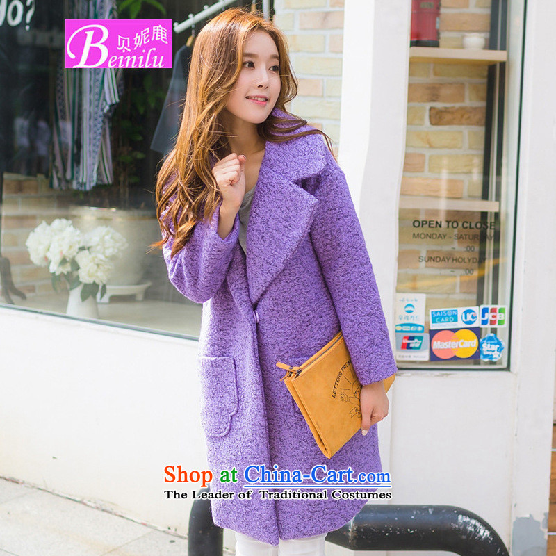Connie Deer 2015 Addis Ababa Fall_Winter Collections new Korean detained in a grain long coats relaxd casual_?? jacket female violet gross燤