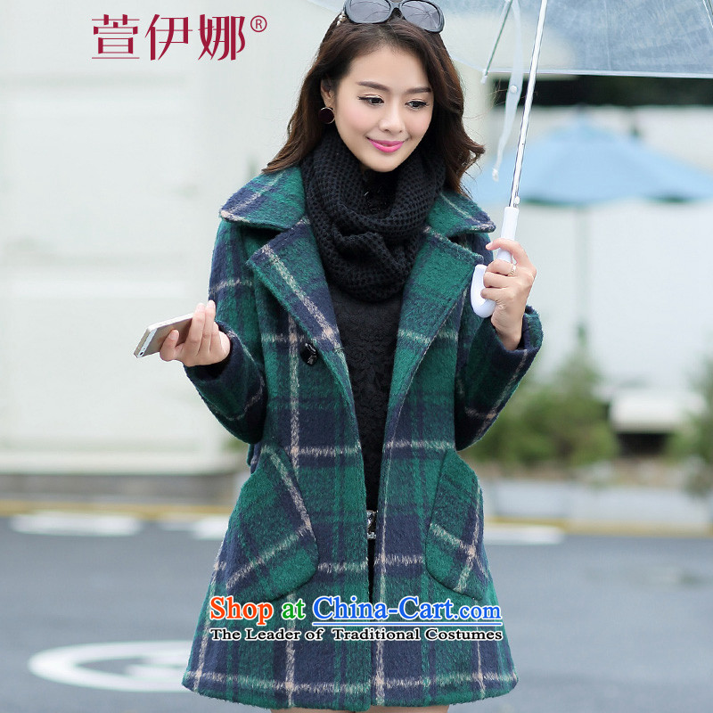 2015 winter clothing new grid gross? long coats that green燲XL