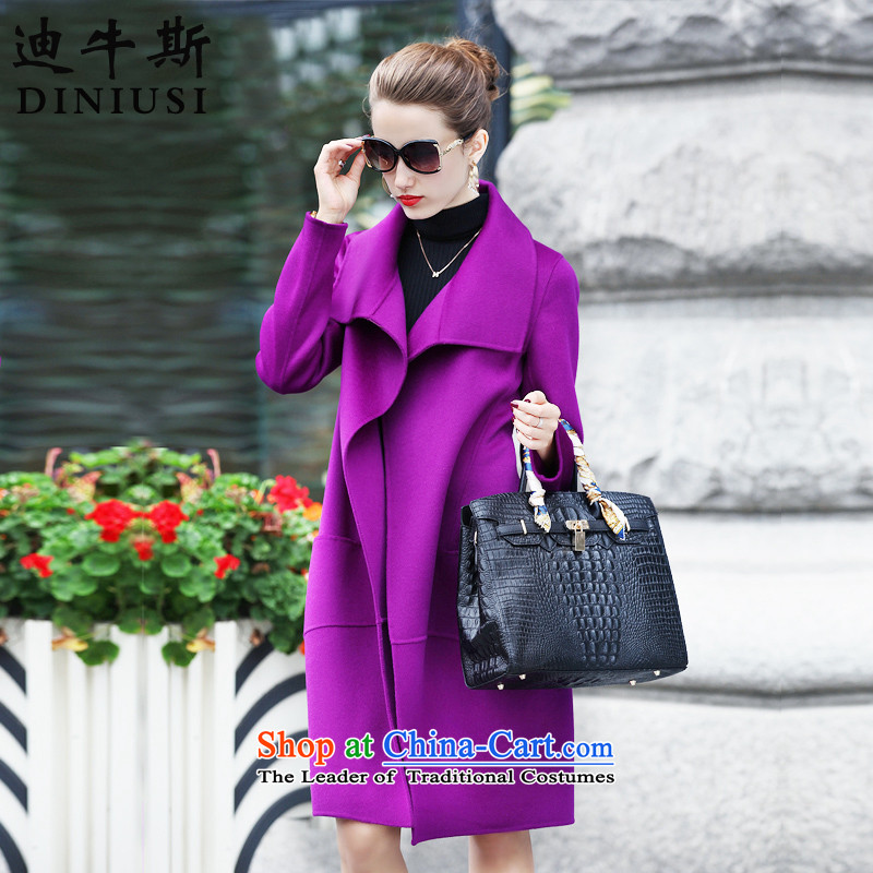 The achievement of the聽2015 autumn and winter new Korean fashion in the Sau San? long double-sided female jacket coat gross violet聽XXL