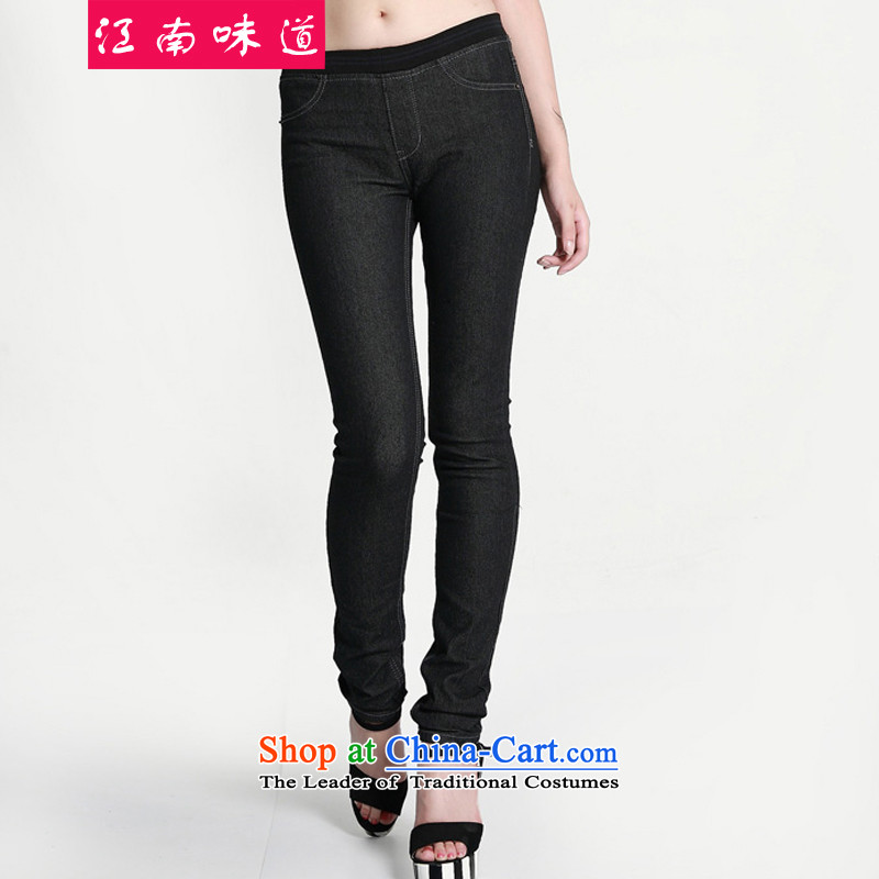 Gangnam-gu large 2015 taste women Fall/Winter Collections Korean to intensify the thick MM thick elastic waist-plus jeans female 163 Black + lint-free 4XL recommendations 160-180 catty