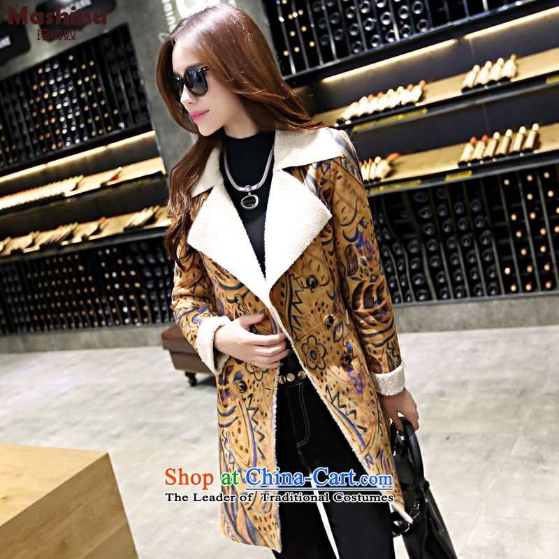 Marguerite poem燽y 2015 winter new arsenal deerskin lint-free Korean female coat? gross in Sau San long jacket, Huanghua燣