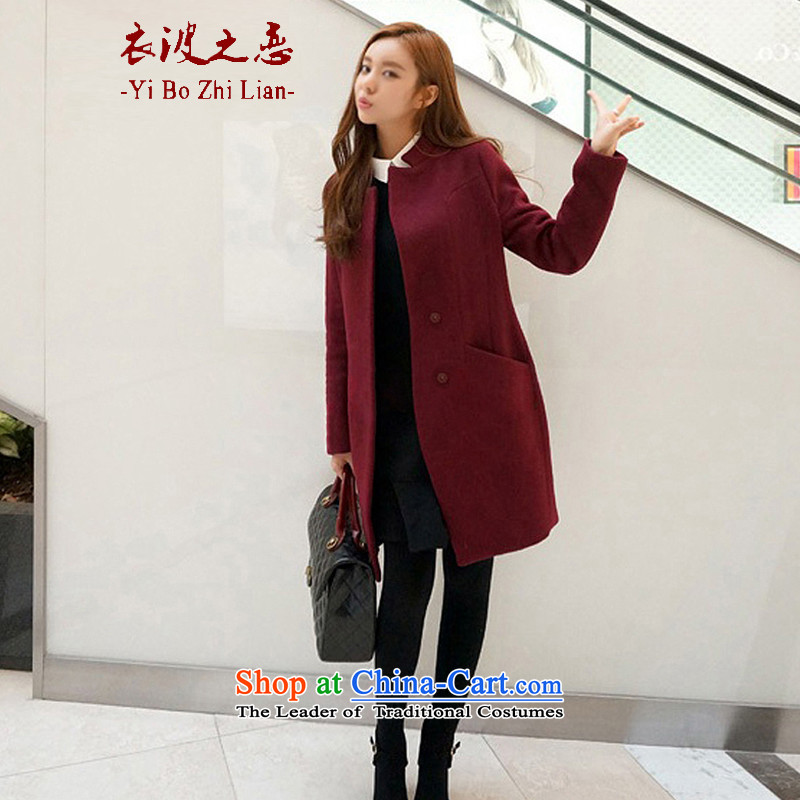 Yi love wave 2015 autumn and winter new larger version in Korea Sau San long wool coat jacket female聽802?聽red聽XXL