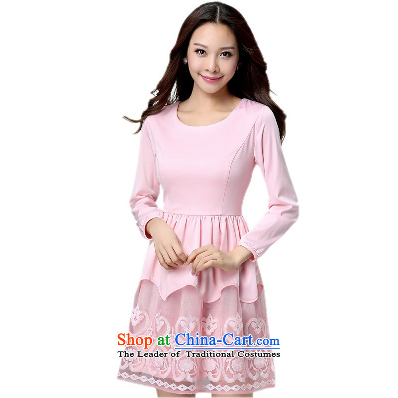 Thick large 4XL180 catty 2015 Autumn replacing xl dresses thick MM long-sleeved larger thick Mei lace aristocratic ladies pink long-sleeved skirt pink 4XL approximately around 170-190 microseconds catty