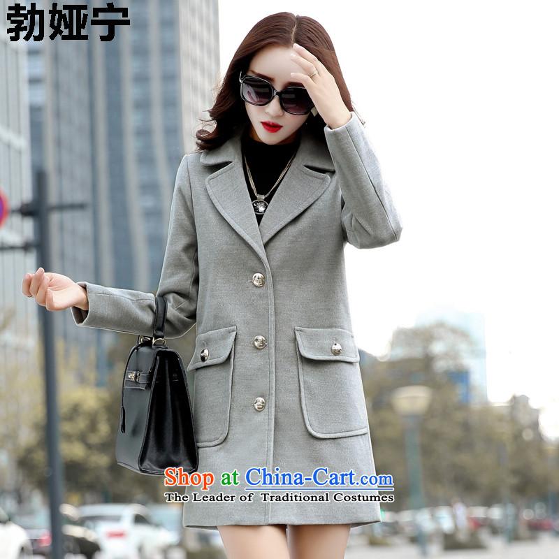 Buck Mulligan Ah Ning 2015 Fall_Winter Collections new coats of ladies hair? Korean wild? female 602 gray jacket�   XXL
