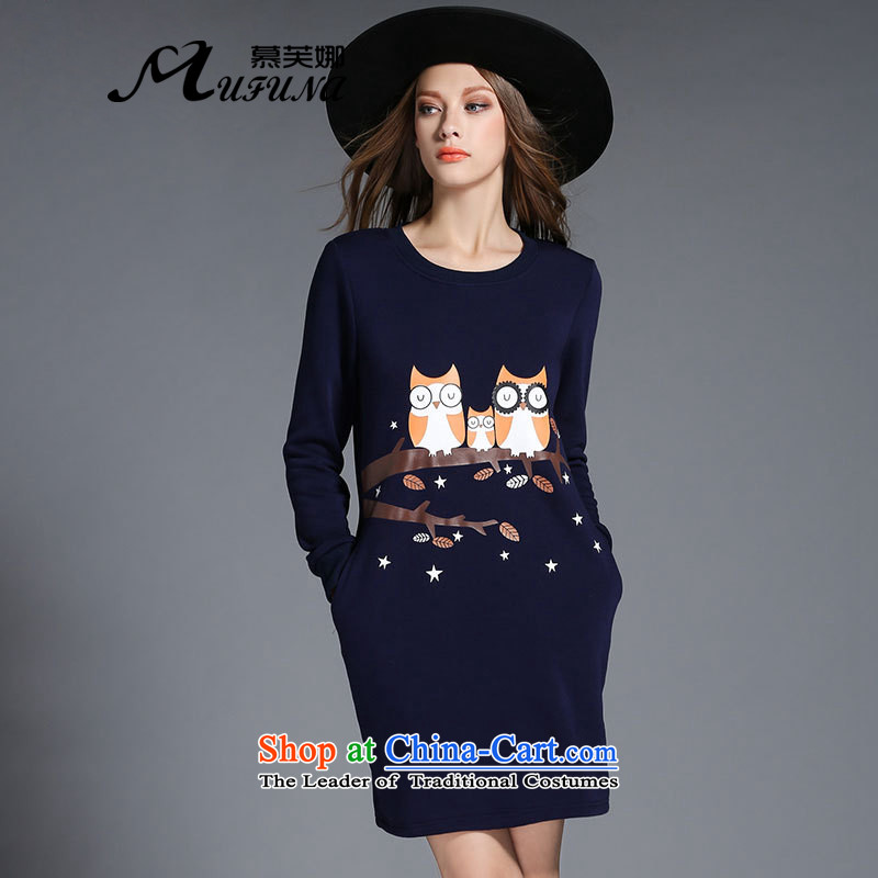 The Europe and improving access 2015 autumn and winter new larger female animal fat mm long-sleeved the stamp lint-free Thick coated dresses燴-2131燽lue�L