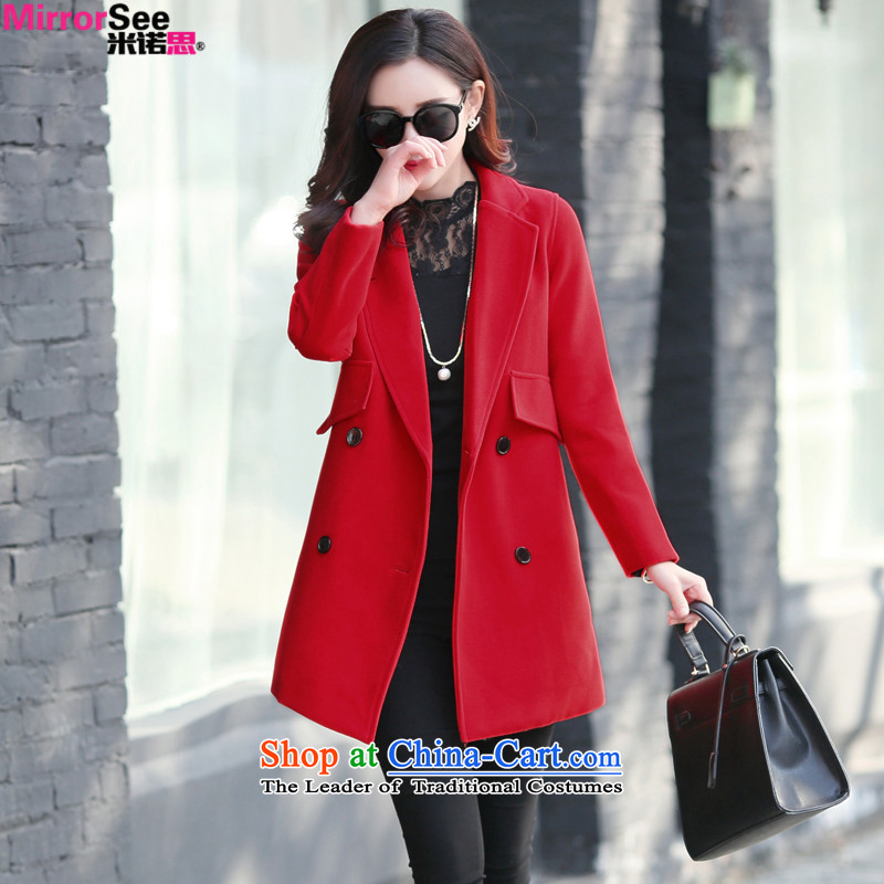 M 2015 Autumn and Winter North New Women's Korea long-sleeved Pullover leisure a wool coat in long double-pure color jacket RED M Gross?