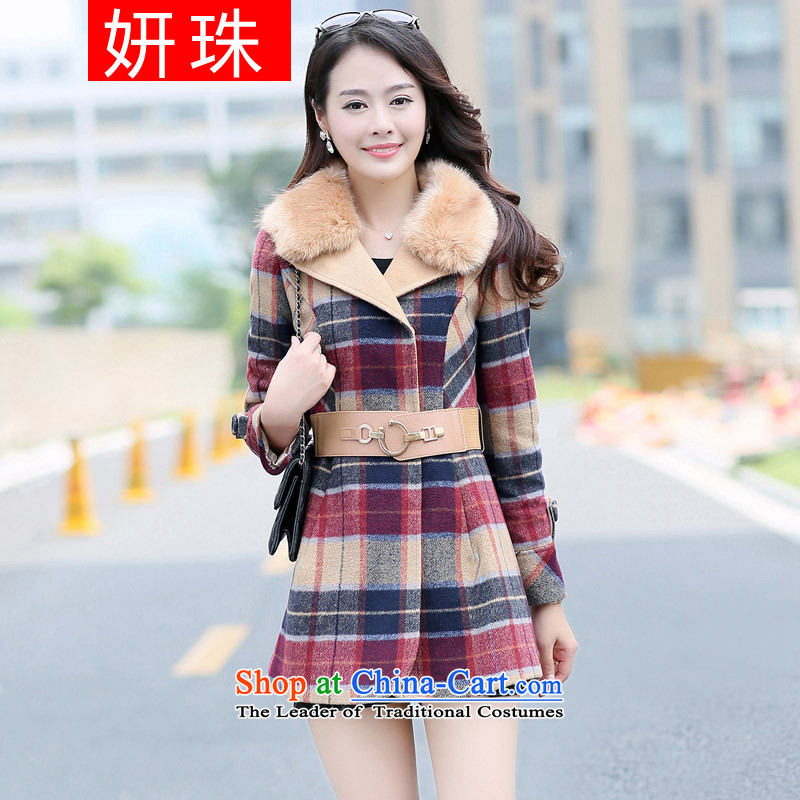 Yeon-ju Chiu replacing to increase women's code 200 catties thick sister thick mm larger gross? In long thick coat of female graphics thin, red�L