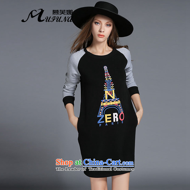 The Europe and improving access 2015 autumn and winter new thick plus large lint-free female thick mm letters forming the long-sleeved stamp dresses燴-2130牋3XL black