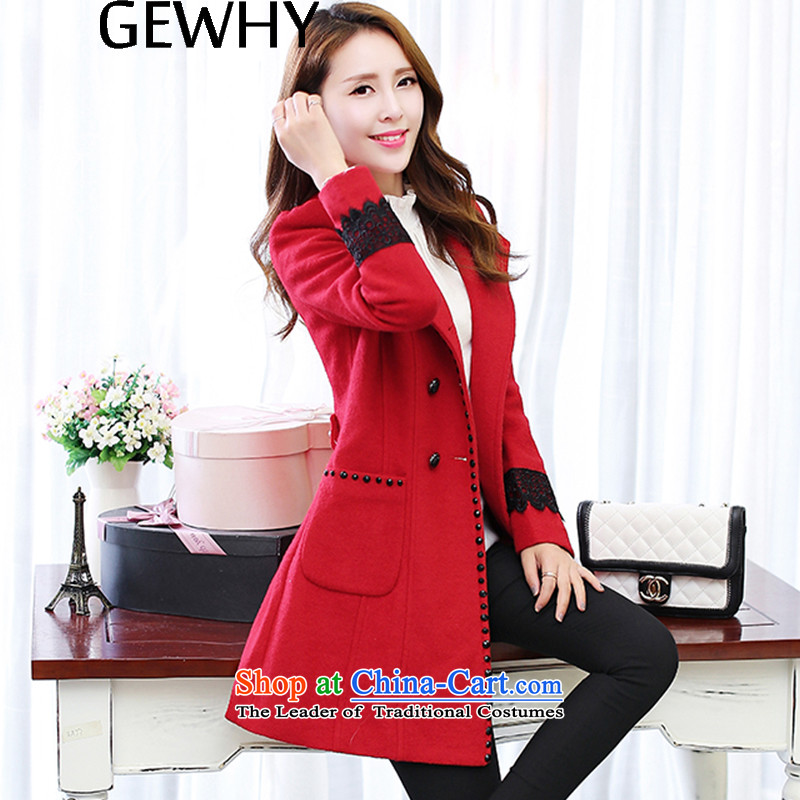 2015 Autumn and winter GEWHY new Korean female jacket is   Gross thick double-long coats gross? female COAT 8006 Red XL