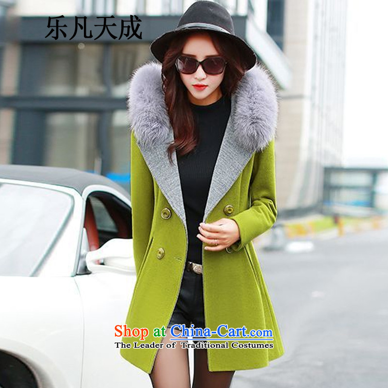 America where Tian Cheng 2015 winter clothing in new women's long hair collar aristocratic small wind-coats of incense female 358 G of lime green聽M