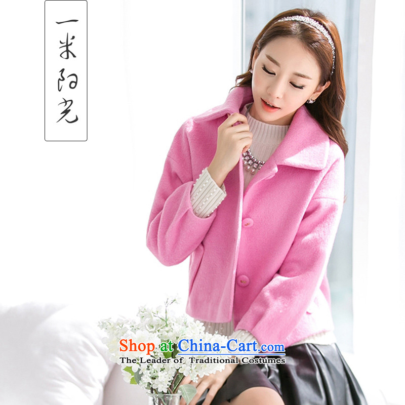 One meter Sunshine  2015 winter clothing new a wool coat Korean short of Sau San? jacket female pink S