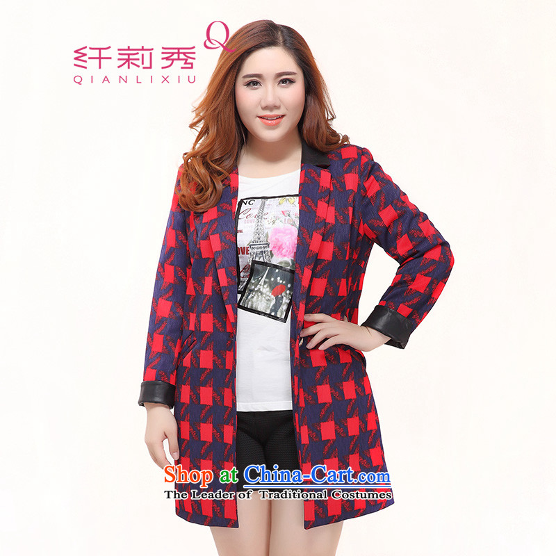 The former Yugoslavia Li Sau 2015 autumn large new mount female knocked color PU suits for grid wild stylish suit coats female red, blue, 0653燲L