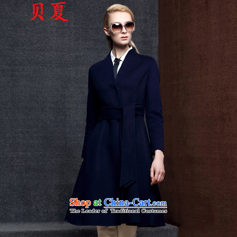 Addis Ababa Summer 2015 two-sided cashmere overcoat female hair fall_winter coats? Western new products in the long strap a wool coat female navy燤