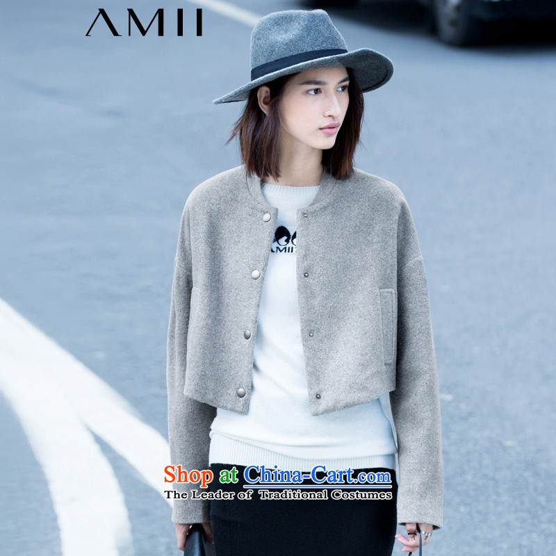 Amii- minimalist- winter pure color large long-sleeved collar short of baseball jacket 11571856? fog grayM