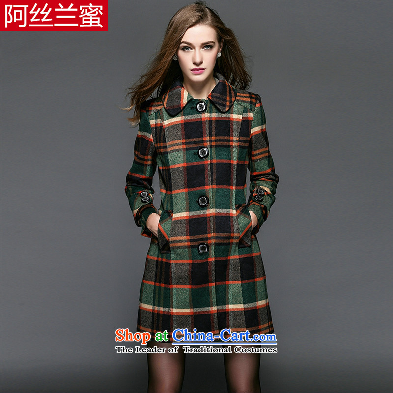 A large number of honey yucca female thick MM video thin 2015 Fall_Winter Collections increased retro latticed Sau San a thick overcoat picture color聽3XL_150 catty - 164 catties through_