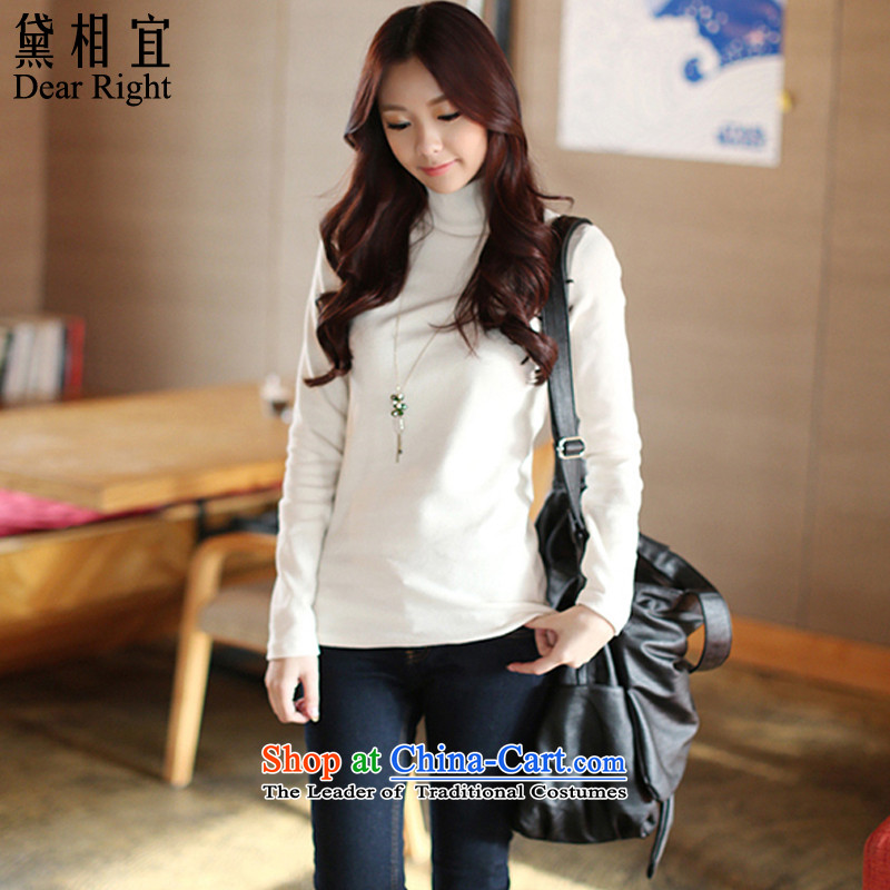 Doi affordable�15 autumn and winter new 200 catties thick sister mm to xl graphics thin female Korean thick solid long-sleeved shirt high collar female white cotton T-shirt _thick_ recommendations 180-200 catties_ 2XL_
