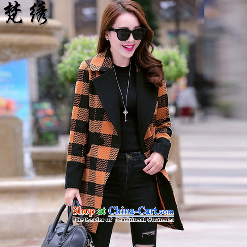 Van Gogh embroidered new products for autumn and winter 2015 Korean video thin grid Sau San stitching coats, wool? Long1573ORANGEXL