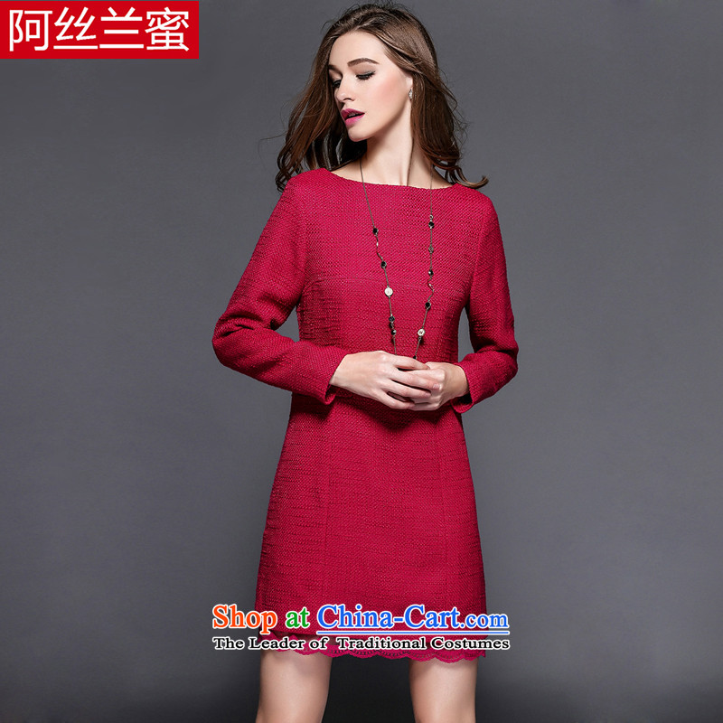 A large number of honey yucca female thick MM video 2015 winter clothing increased thin thick lace Sau San dresses�L_150 red 163-164_ through the burden of coal